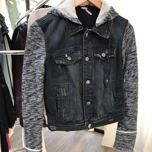 Free People distressed black denim hooded jacket